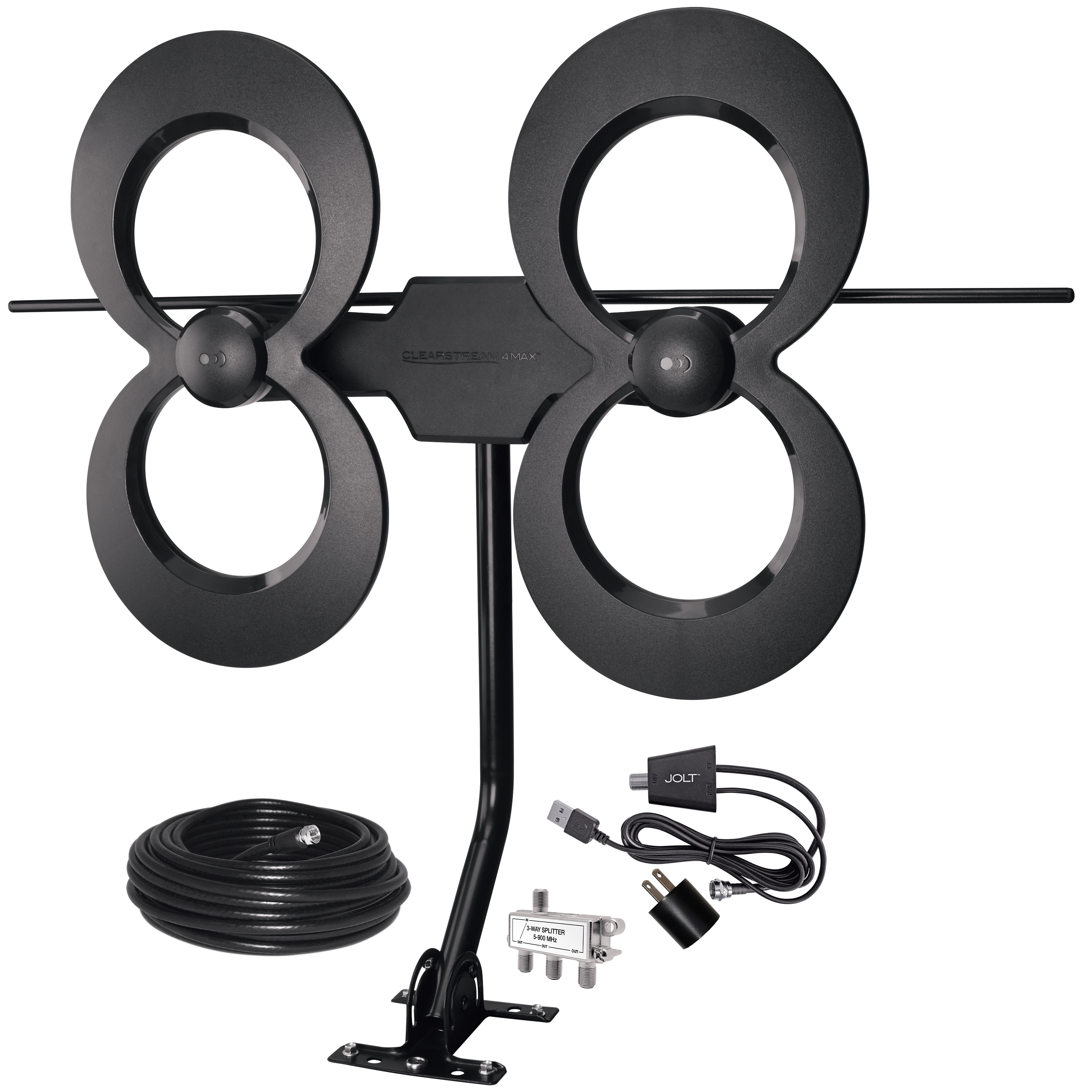 https://www.antennasdirect.com - ClearStream 4MAX® COMPLETE UHF/VHF Outdoor HDTV Antenna with Amplifier, Mast, Coaxial Cable, and Splitter